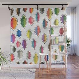 colorful hemispheres, white rainbow abstract minimalist minimalism Wall Mural
