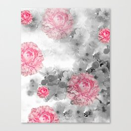 ROSES PINK WITH CHERRY BLOSSOMS Canvas Print