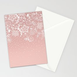 Elegant white lace floral and confetti design Stationery Cards