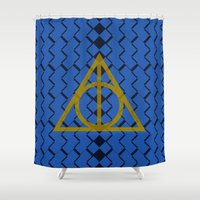 ravenclaw Shower Curtains featuring The Deathly Hallows Ravenclaw by cinefuck