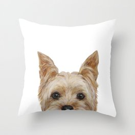 Yorkshire 2 Dog illustration original painting print Throw Pillow