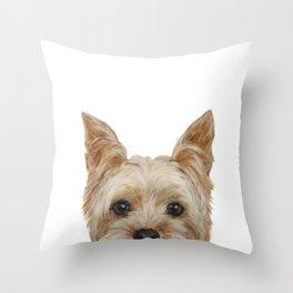 Yorkshire 2 Dog illustration original painting print Throw Pillow