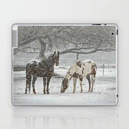 2 Horses under a tree in winter Laptop & iPad Skin