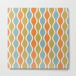 Classic Retro Ogee Pattern 842 Orange Blue and Olive Metal Print