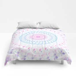 Pastel Wave Mandala in Pale Pink, White, and Lilac Comforters