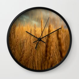 Harvest Time - Golden Wheat in Colorado Field Wall Clock