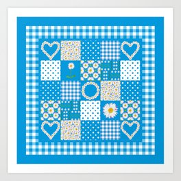 Daisy Chain Hearts and Circles on Turquoise Blue Art Print