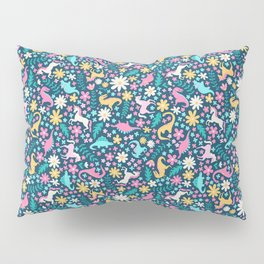 Floral Burst with Dinosaurs + Unicorns in Neon Pillow Sham