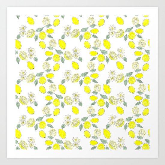 Watercolor . Lemon . Art Print