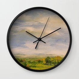Scenic Autumn Late Afternoon in Vermont Nature Art Landscape Oil Painting Wall Clock