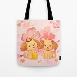 dog couple sweet sakura Tote Bag