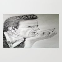 johnny cash Area & Throw Rugs featuring Young Johnny Cash Pencil Drawing by KOverbee