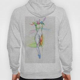 Flower, surreal nude female, NYC artist Hoody
