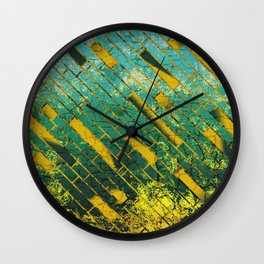 Golden and blue geometric abstract design Wall Clock