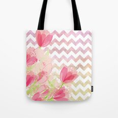 Chevron Tulips Tote Bag