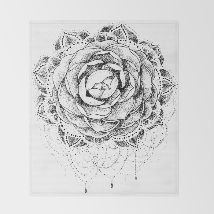 ad63119ab Camellia Dotwork Mandala Throw Blanket by robinelizabethart | Society6