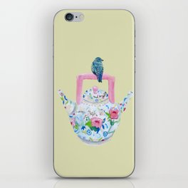 Bluebird and Teapot iPhone Skin