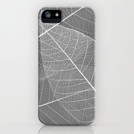 Gray Skeleton Leaf iPhone Case