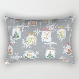 Christmas Jars Grey Rectangular Pillow