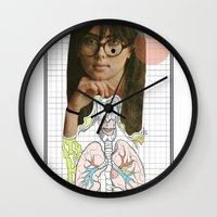 lungs Wall Clocks featuring lungs by Cassidy Rae Marietta