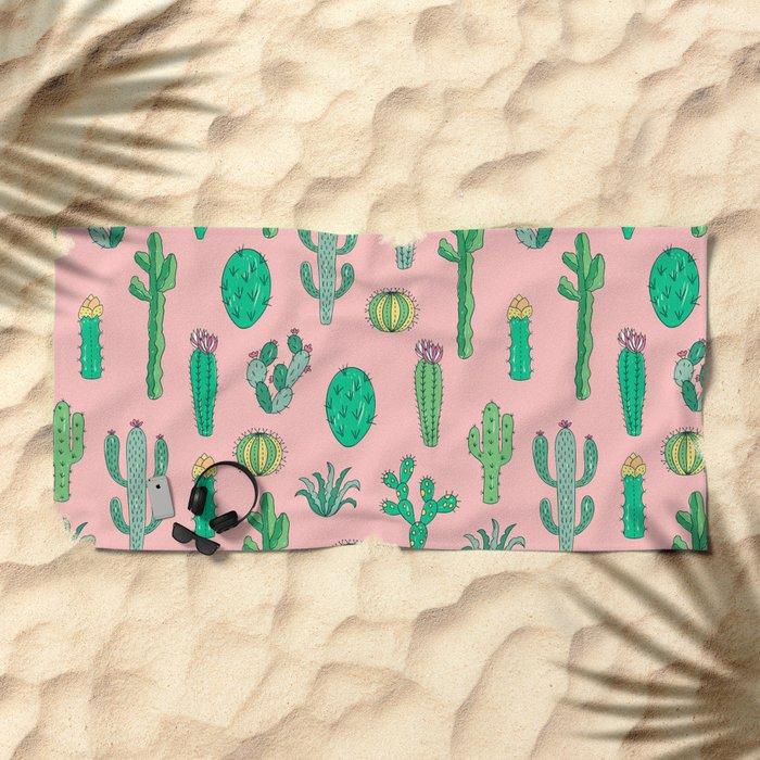 Cactus Pattern Pink Beach Towel