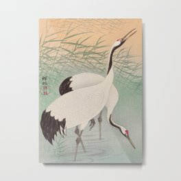 Two cranes in the lake - Japanese vintage woodblock print Metal Print