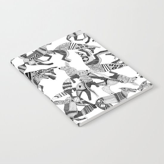 woodland fox party black white Notebook