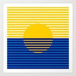 Yellow Split Sun Art Print