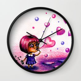 Girl blows soap bubbles on valentines day Wall Clock