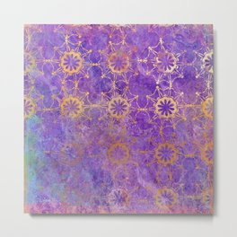 Pop Painted Pattern:  Purple and gold watercolor abstract ornament Metal Print