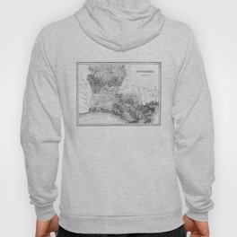 Vintage Map of Louisiana (1838) BW Hoody