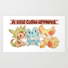 A wild Coffee Appeared - X and Y starters Art Print