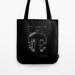 Headphones Patent - White on Black Tote Bag