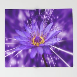 Purple Lotus  Throw Blanket