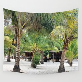 Bungalows on Palm Beach Wall Tapestry