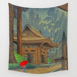 Asano Takeji Japanese Woodblock Print Vintage Mid Century Art Shinto Shrine Forest Wall Tapestry