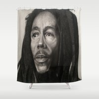 marley Shower Curtains featuring Marley Drawing by Wega13Art