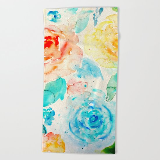 Abstract Flowers 04 Beach Towel