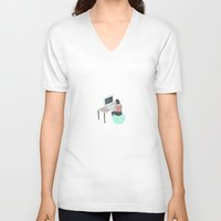 the office V-neck T-shirts featuring Office Bounce by Thoka Maer
