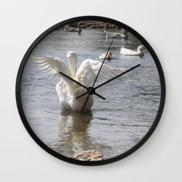 White Duck Flapping Wings on Water Wall Clock