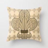 fleur de lis Throw Pillows featuring Fleur de Lis by eMJay Digital Art