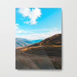 Western Landscape Orange Grass Fields Mountain Canyon Metal Print
