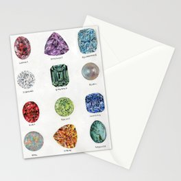 Birthstones Watercolour Stationery Cards