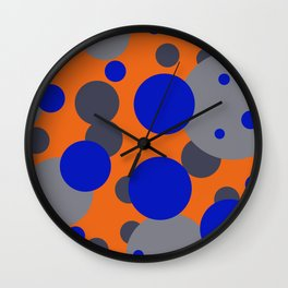 Bubbles blue grey orange design Wall Clock