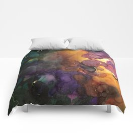 Abstract in Purple and Orange Comforters