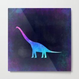 BRACHIOSAURUS IN SPACE // Animal Graphic Art // Watercolor Canvas Painting // Modern Minimal Cute Metal Print