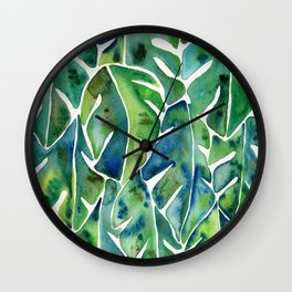 Split Leaf Philodendron – Green Wall Clock