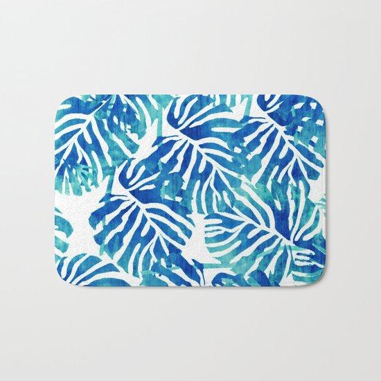 Tropical Leaves – Blue Abstract Bath Mat