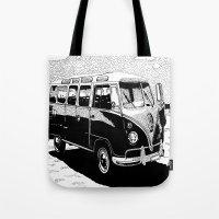 volkswagen Tote Bags featuring Volkswagen Bus by Michael Blaze