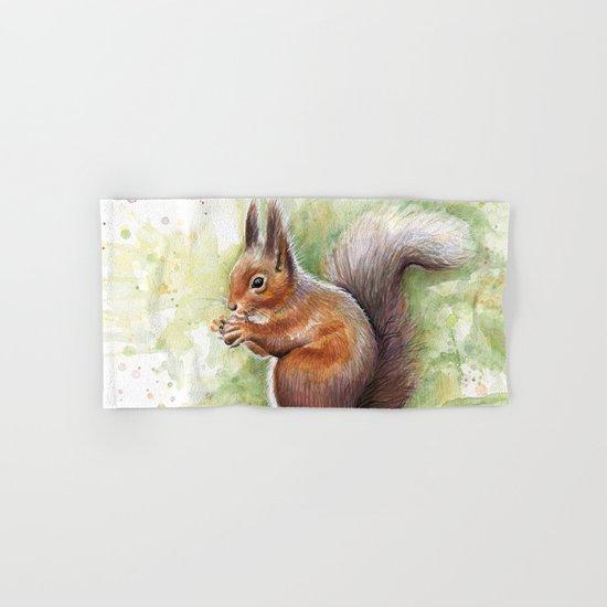 Squirrel Watercolor Painting Hand & Bath Towel